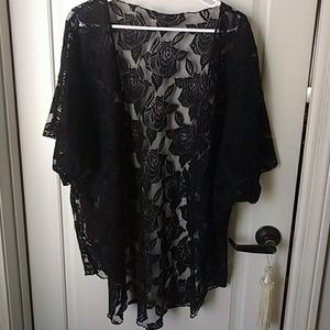 Black Lace Floral  Kimono Size 1X